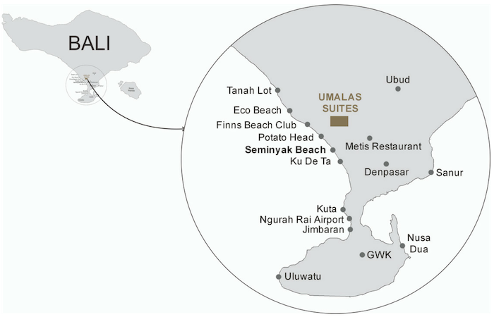 Map showing the popular restaurants, beaches, and shops that are close to Umalas Suites in Bali