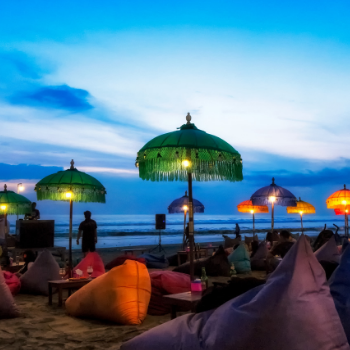 Loungers and umbrellas at Seminyak Beach, Bali